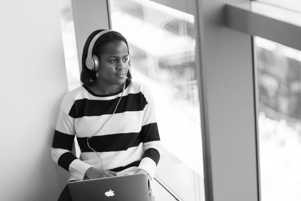 Stock photo listening with headphones