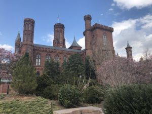 Side view of the Smithsonian Castle