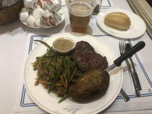Amtrak Signature Steak dinner served on the Silver Meteor