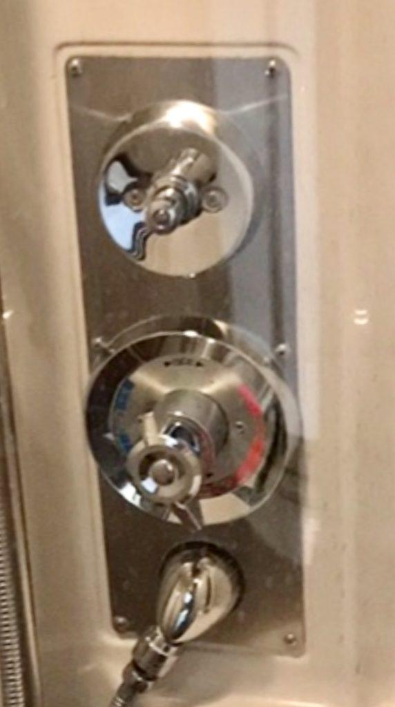 Amtrak shower controls