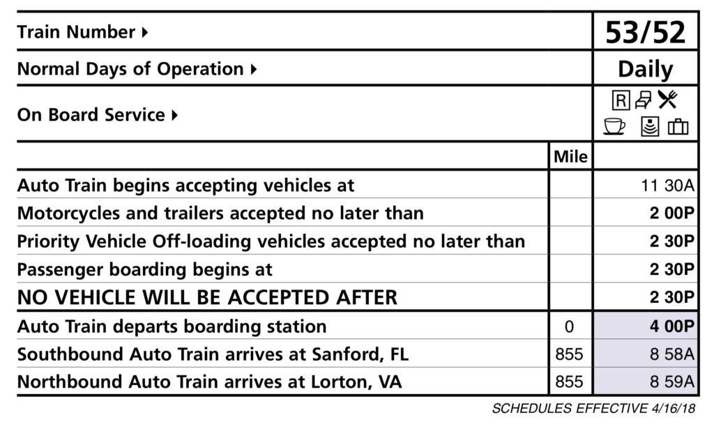 Auto Train schedule