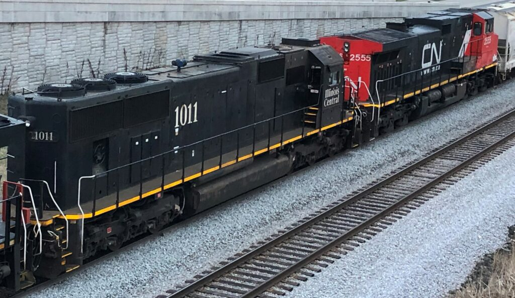CN and Illinois Central locomotives